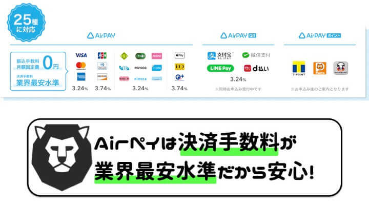AirPAY 導入 決済手数料