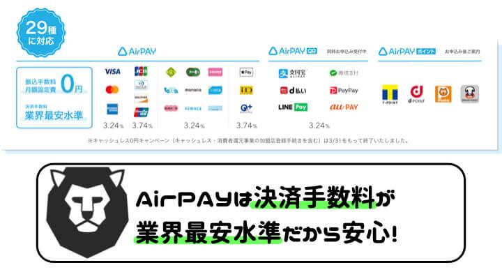 AirPAY 導入 決済手数料 業界最安水準